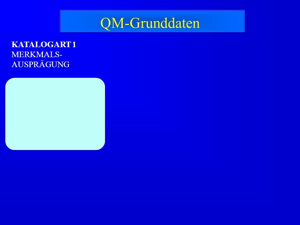 QM-Grunddaten KATALOGART 1 MERKMALS-AUSPRÄGUNG