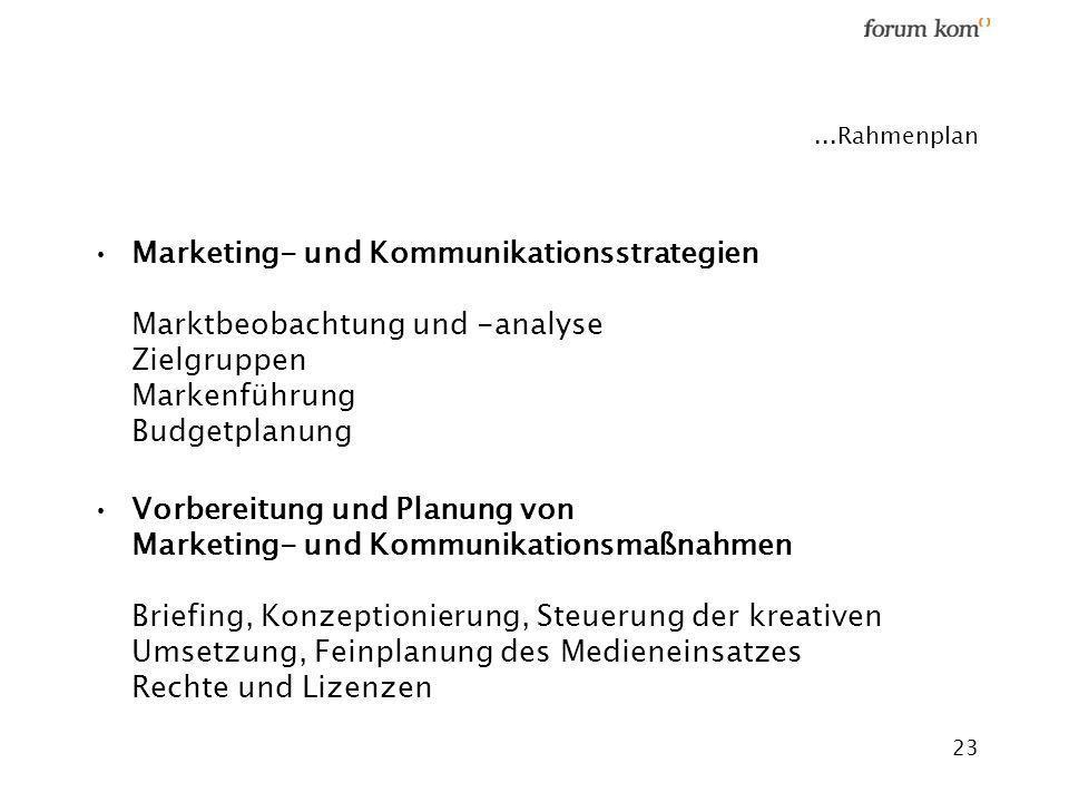 ...Rahmenplan Marketing- und Kommunikationsstrategien Marktbeobachtung und -analyse Zielgruppen Markenführung Budgetplanung.