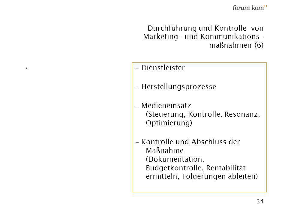 Durchführung und Kontrolle von Marketing- und Kommunikations- maßnahmen (6)