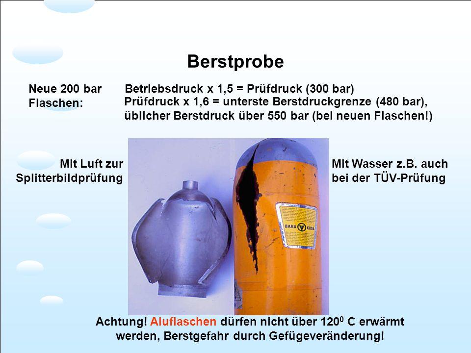 Berstprobe Neue 200 bar Flaschen: