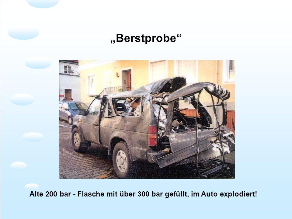 """""""Berstprobe Alte 200 bar - Flasche mit über 300 bar gefüllt, im Auto explodiert!"""