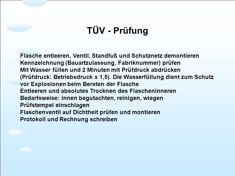 TÜV - Prüfung Flasche entleeren, Ventil, Standfuß und Schutznetz demontieren. Kennzeichnung (Bauartzulassung, Fabriknummer) prüfen.
