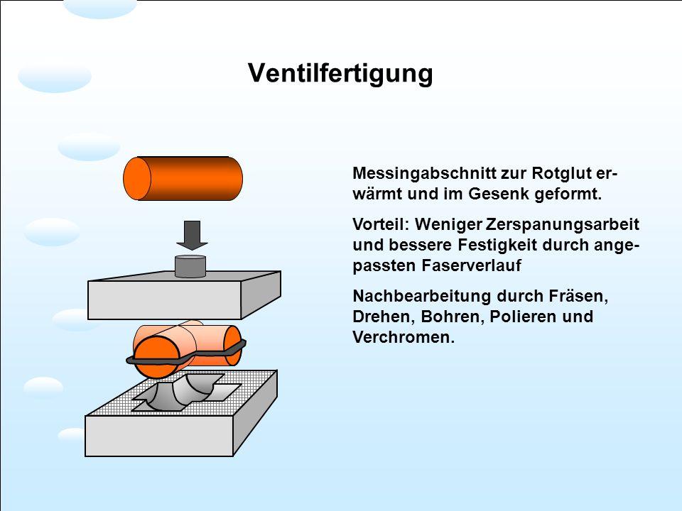 Ventilfertigung Messingabschnitt zur Rotglut er-wärmt und im Gesenk geformt.
