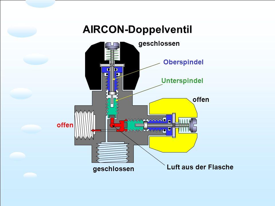 AIRCON-Doppelventil geschlossen Oberspindel Unterspindel offen offen