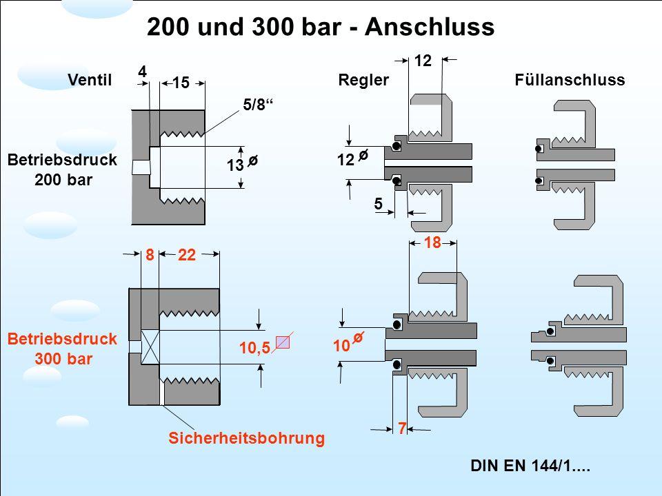 200 und 300 bar - Anschluss 12 4 Ventil 15 Regler Füllanschluss 5/8 o