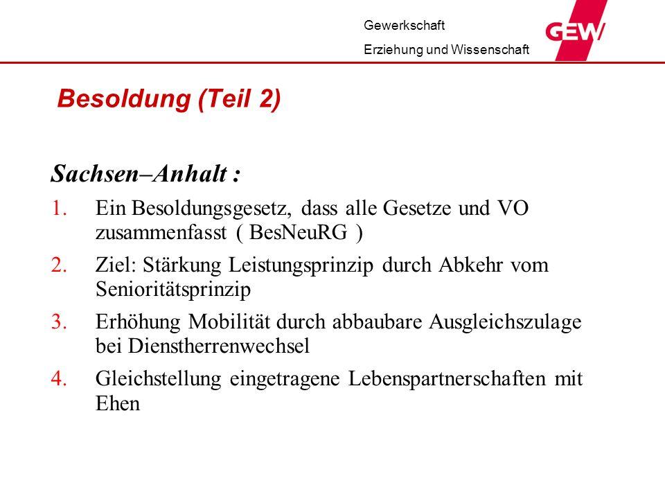 Sachsen–Anhalt : Besoldung (Teil 2)