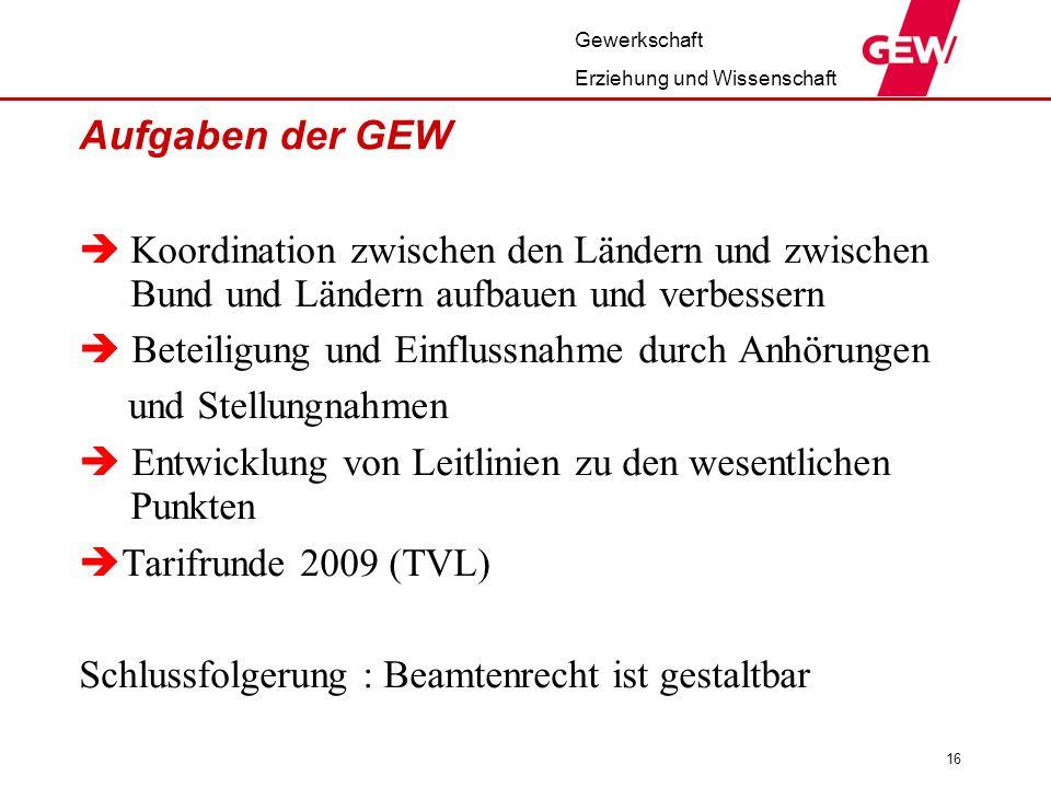Aufgaben der GEW Koordination zwischen den Ländern und zwischen Bund und Ländern aufbauen und verbessern.