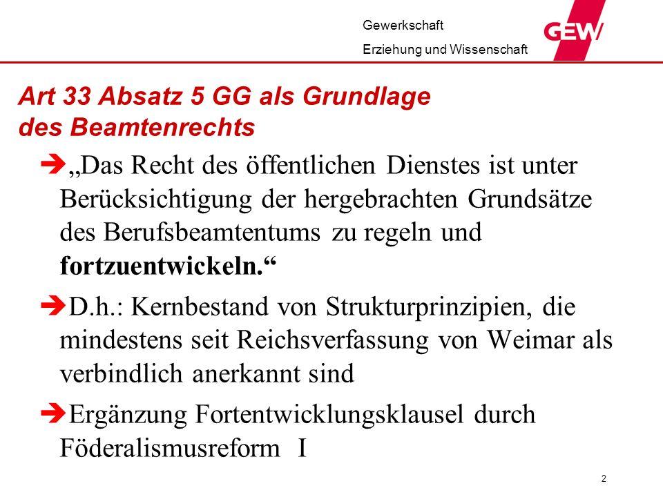 Art 33 Absatz 5 GG als Grundlage des Beamtenrechts