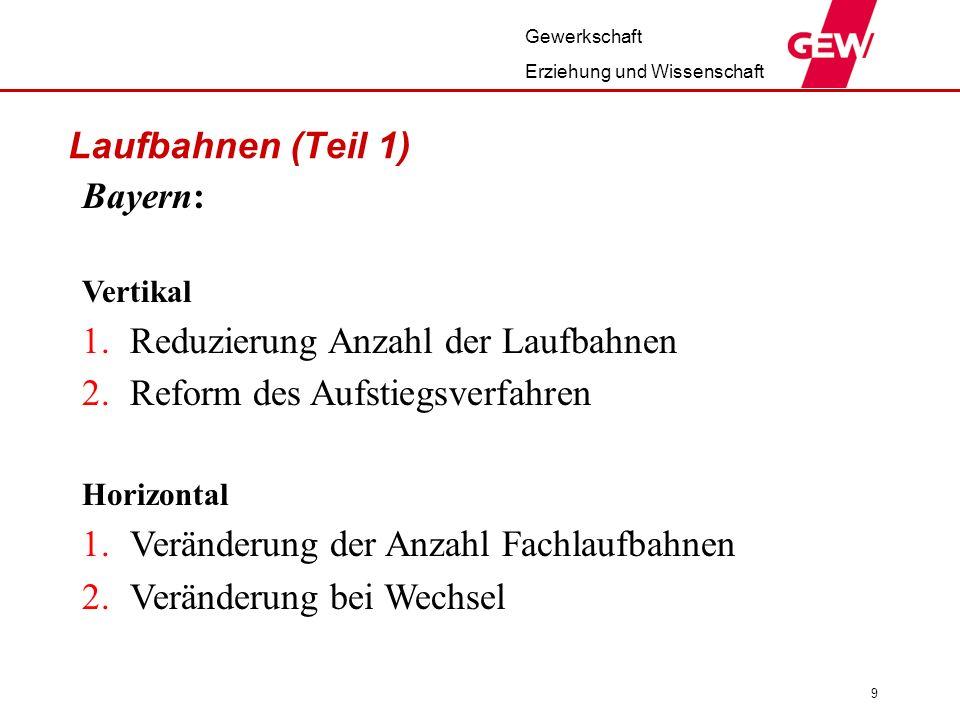 Laufbahnen (Teil 1) Bayern: Reduzierung Anzahl der Laufbahnen