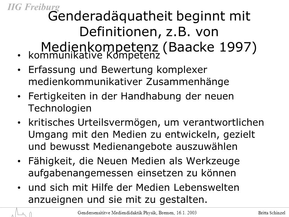 Genderadäquatheit beginnt mit Definitionen, z. B