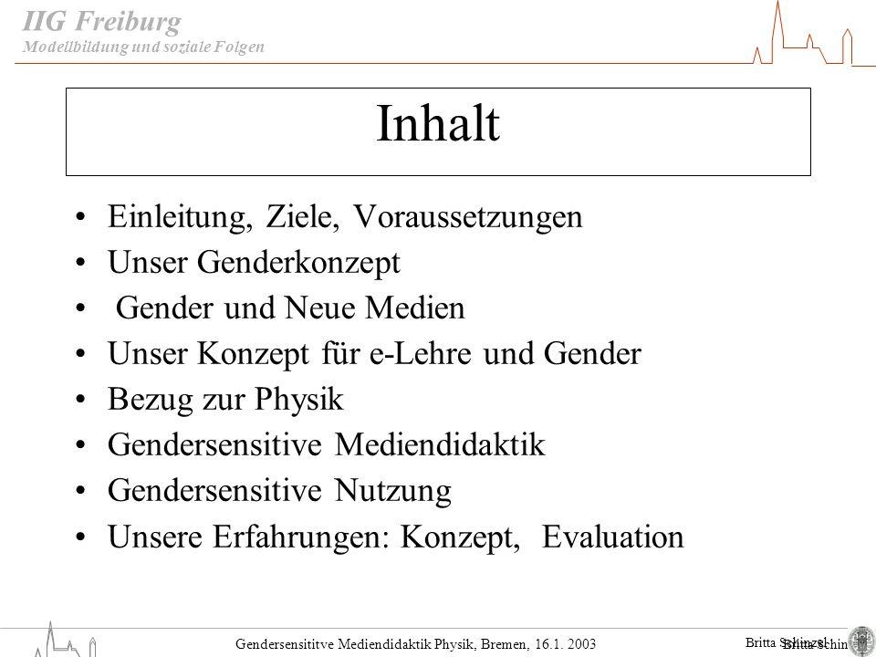 Inhalt Einleitung, Ziele, Voraussetzungen Unser Genderkonzept