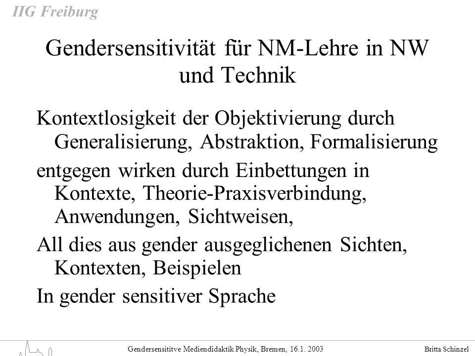 Gendersensitivität für NM-Lehre in NW und Technik