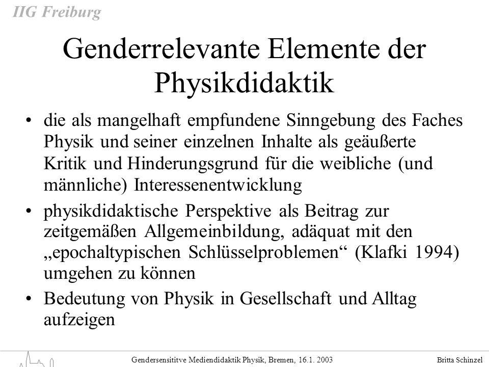Genderrelevante Elemente der Physikdidaktik