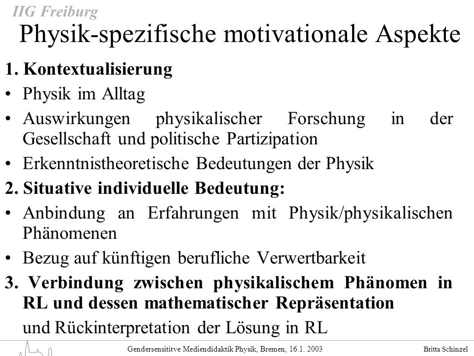Physik-spezifische motivationale Aspekte