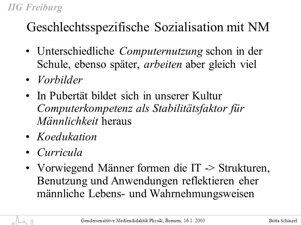Geschlechtsspezifische Sozialisation mit NM