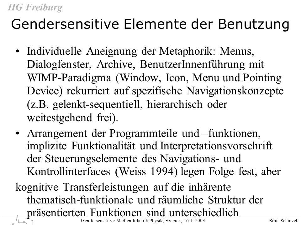 Gendersensitive Elemente der Benutzung