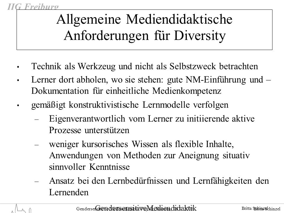 Allgemeine Mediendidaktische Anforderungen für Diversity