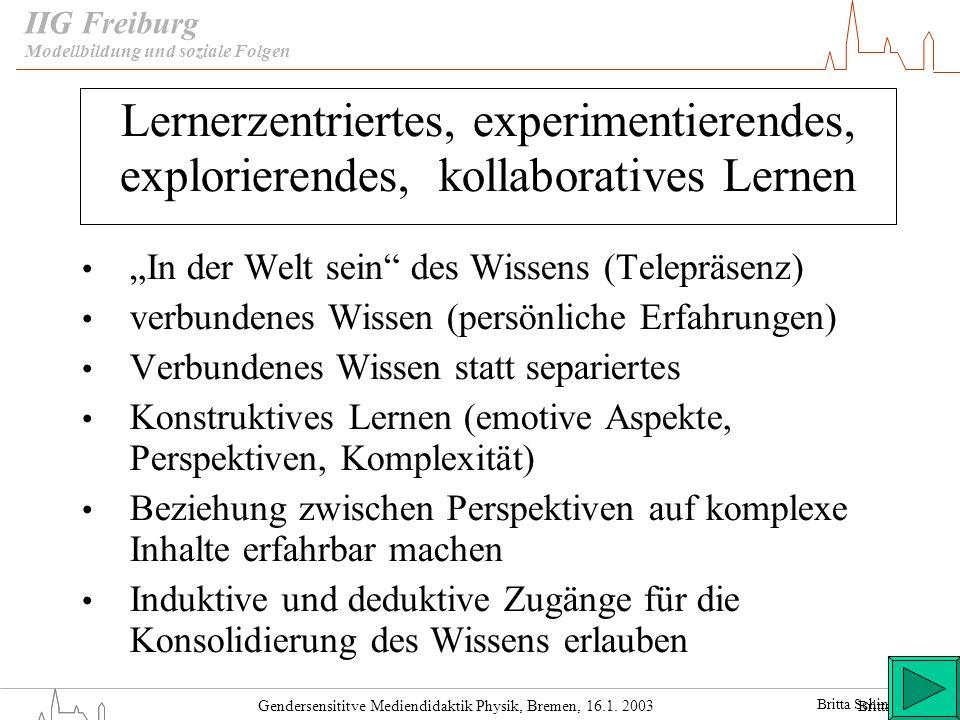 IIGModellbildung und soziale Folgen. Lernerzentriertes, experimentierendes, explorierendes, kollaboratives Lernen.