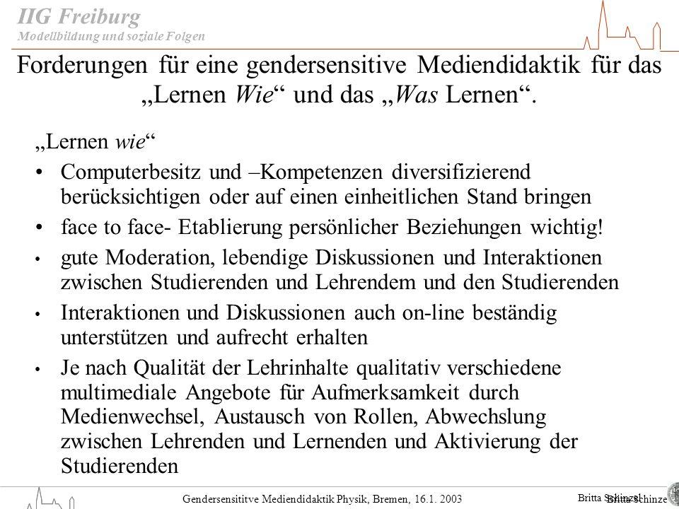 """IIG Modellbildung und soziale Folgen. Forderungen für eine gendersensitive Mediendidaktik für das """"Lernen Wie und das """"Was Lernen ."""