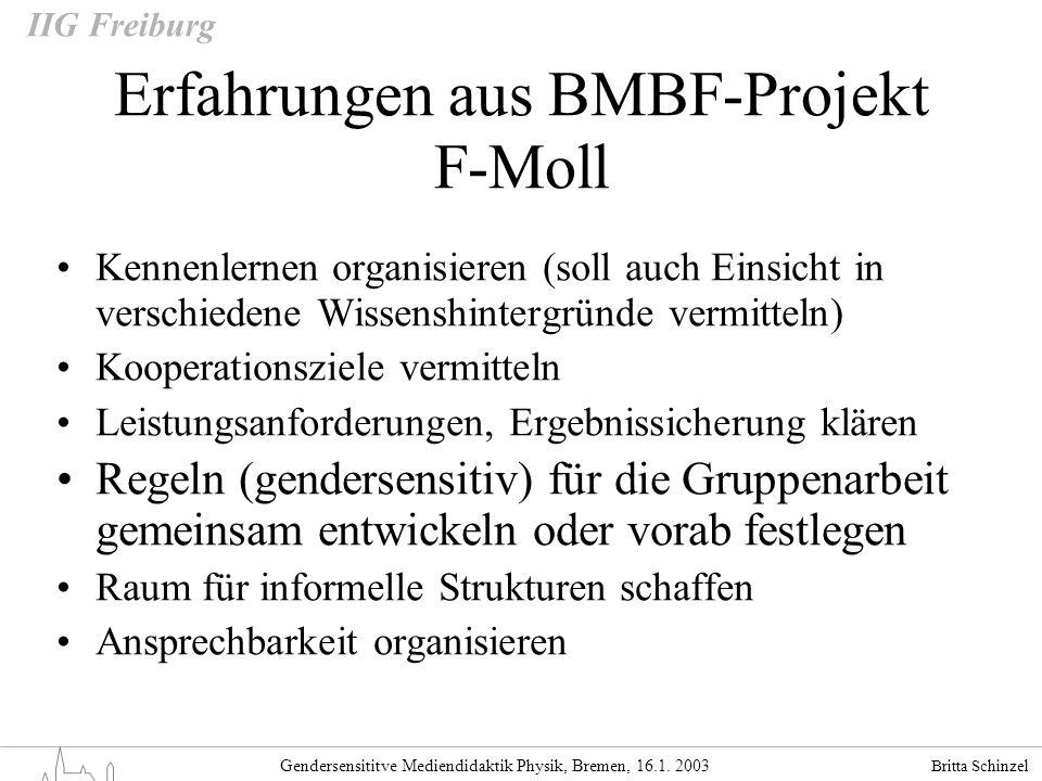 Erfahrungen aus BMBF-Projekt F-Moll