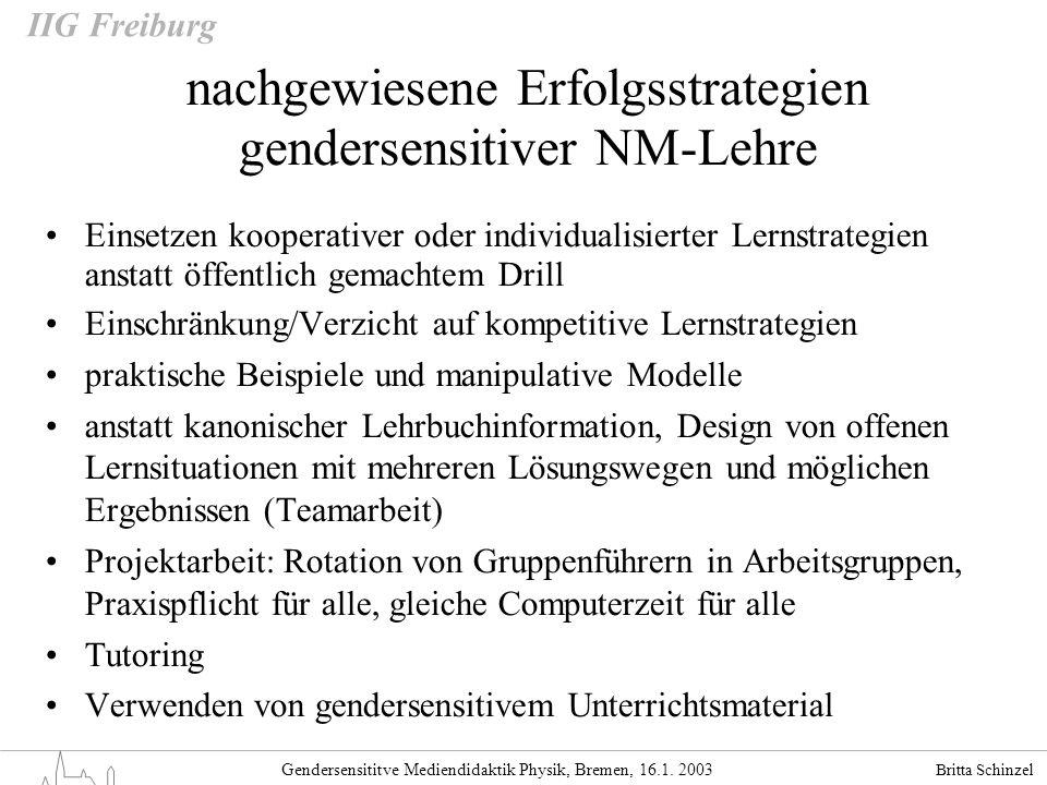 nachgewiesene Erfolgsstrategien gendersensitiver NM-Lehre
