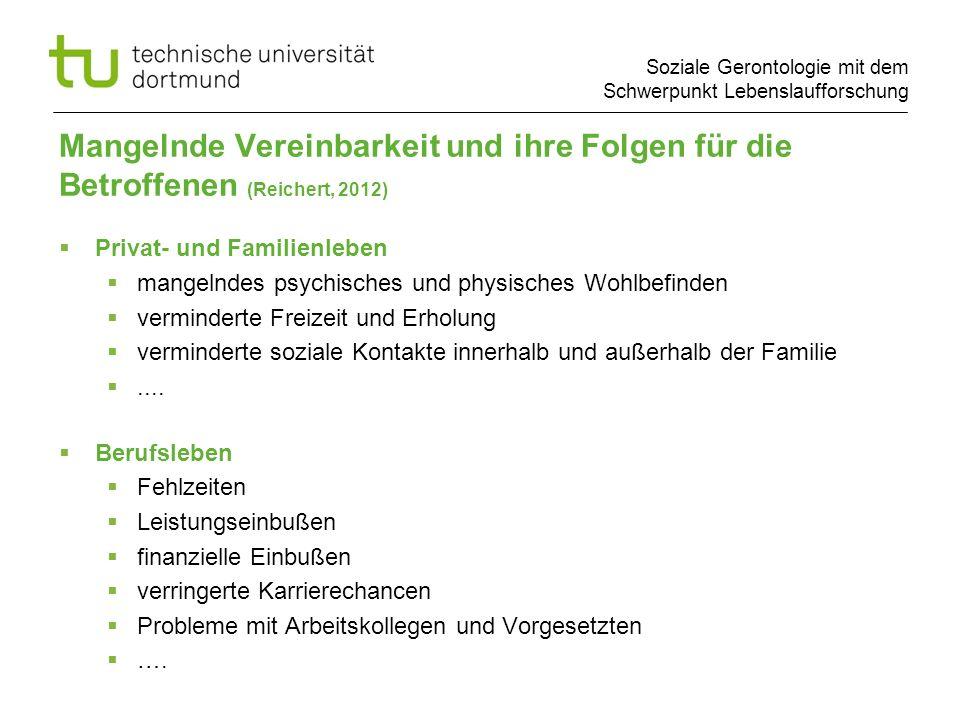 Mangelnde Vereinbarkeit und ihre Folgen für die Betroffenen (Reichert, 2012)