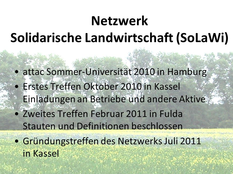 Netzwerk Solidarische Landwirtschaft (SoLaWi)