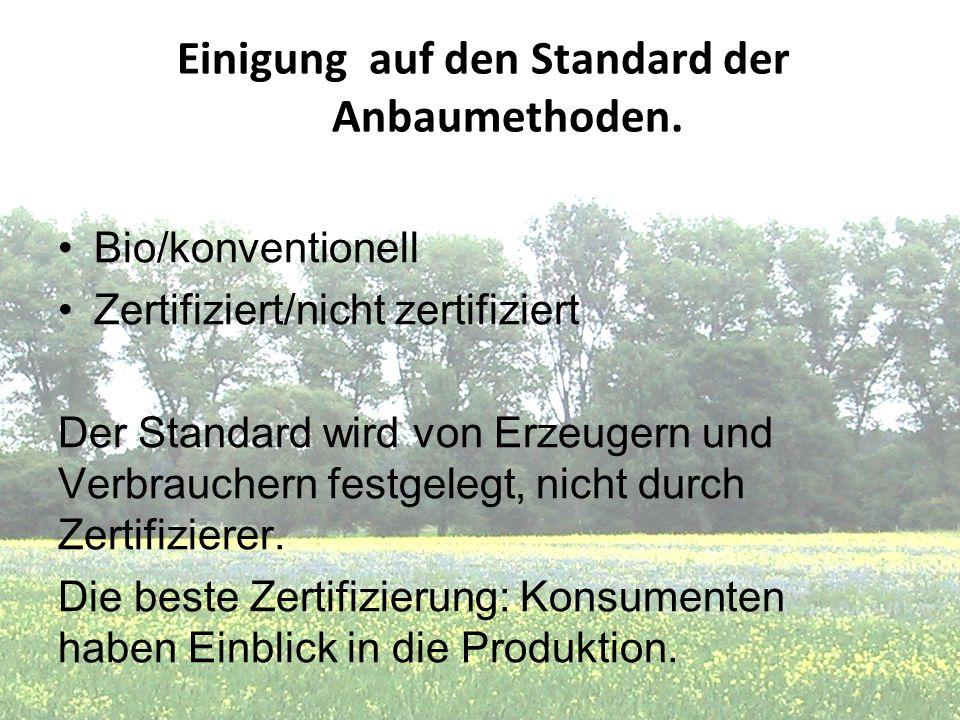 Einigung auf den Standard der Anbaumethoden.
