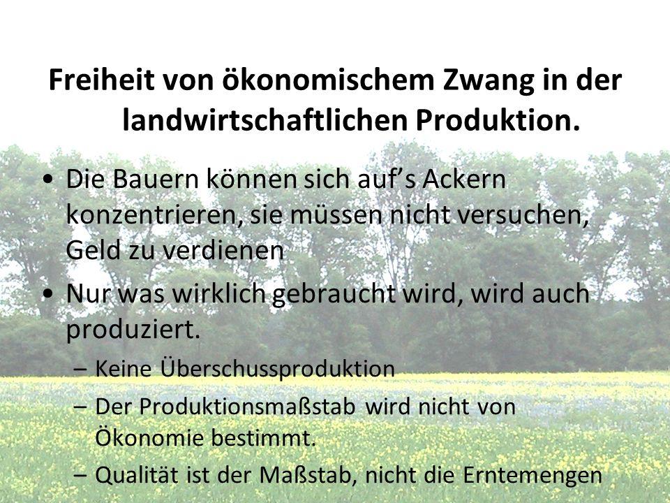 Freiheit von ökonomischem Zwang in der landwirtschaftlichen Produktion.