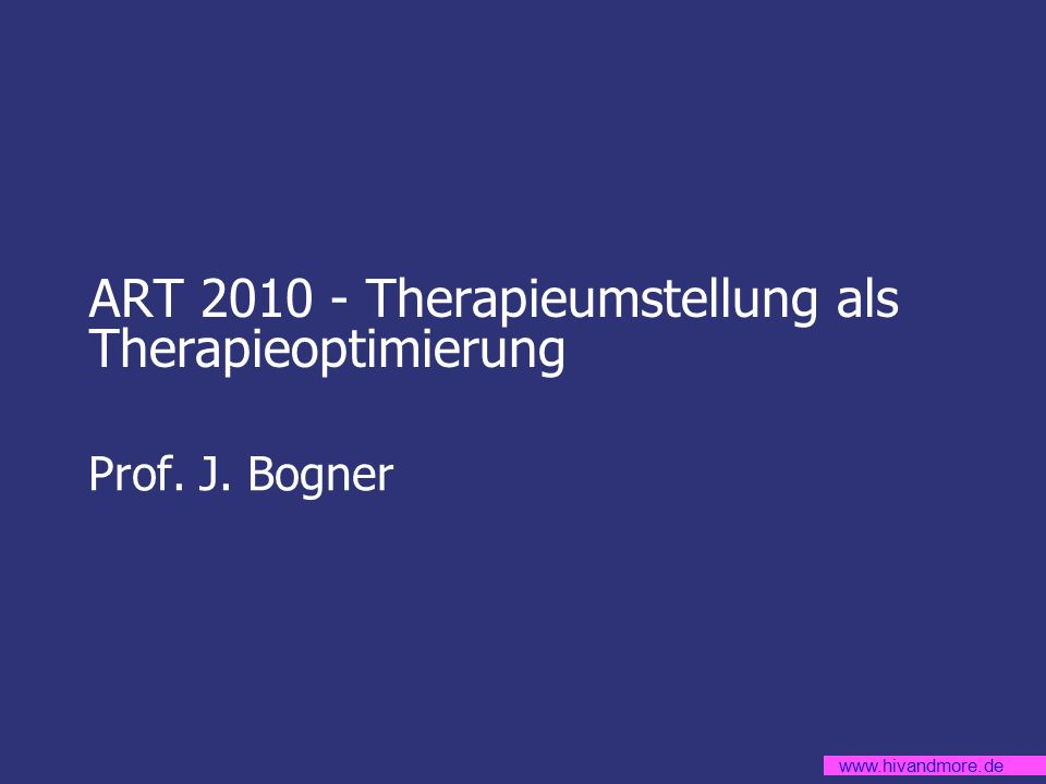 ART 2010 - Therapieumstellung als Therapieoptimierung