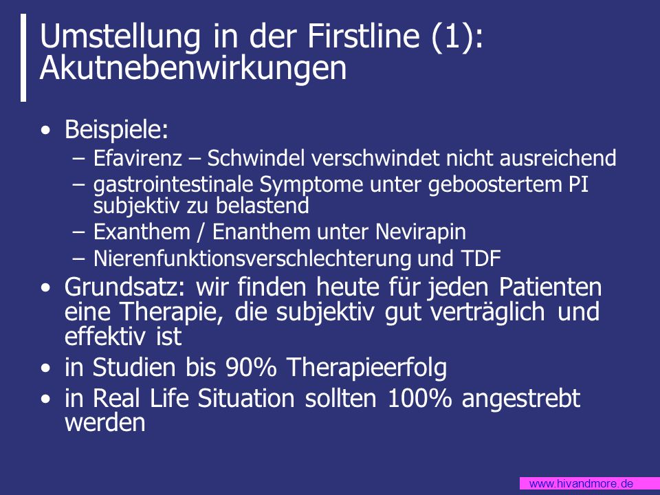 Umstellung in der Firstline (1): Akutnebenwirkungen