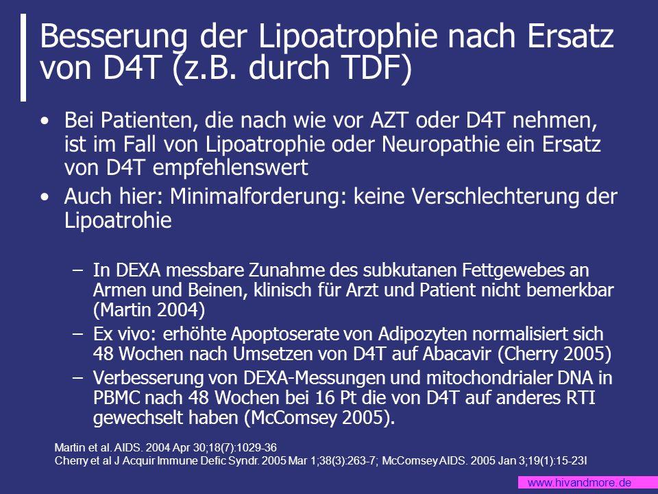 Besserung der Lipoatrophie nach Ersatz von D4T (z.B. durch TDF)