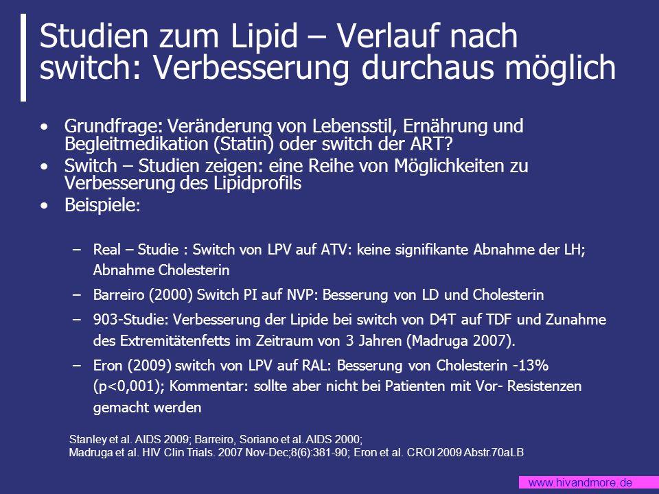 Studien zum Lipid – Verlauf nach switch: Verbesserung durchaus möglich
