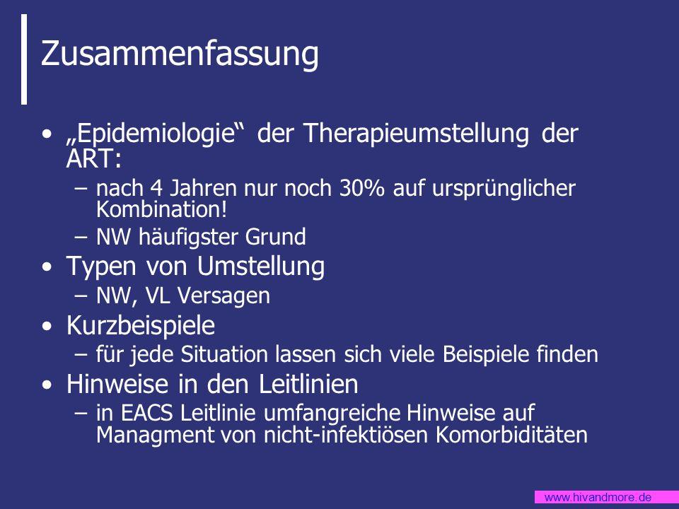 """Zusammenfassung """"Epidemiologie der Therapieumstellung der ART:"""