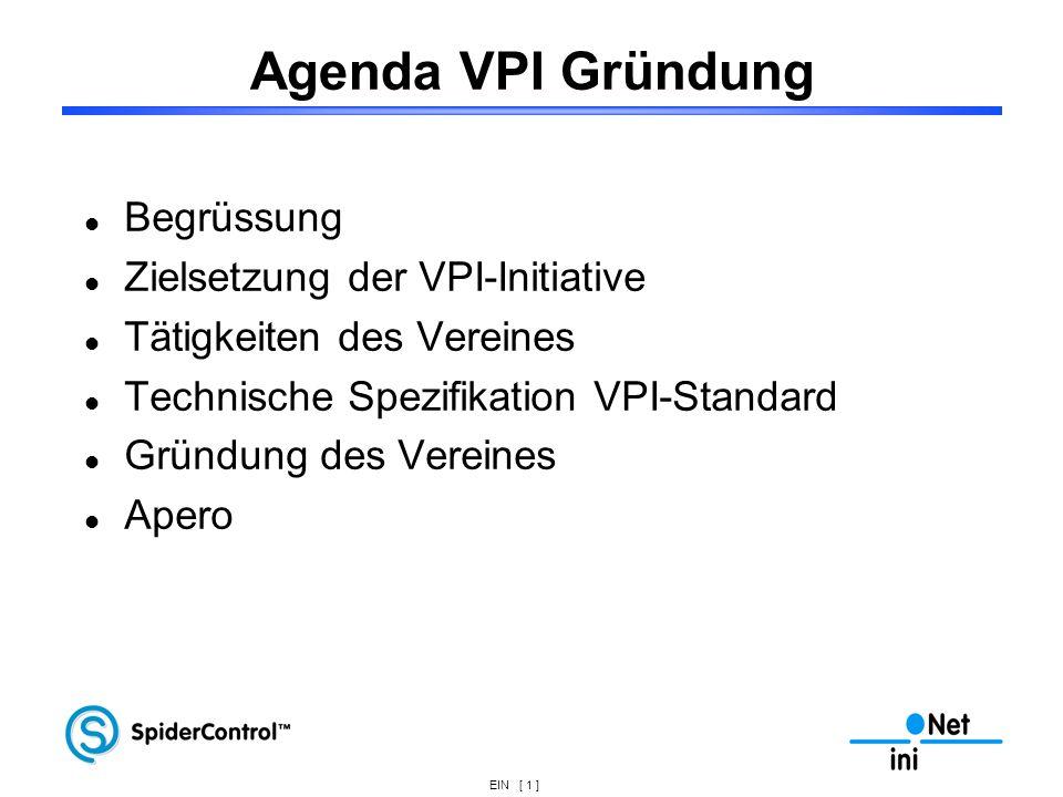 Agenda VPI Gründung Begrüssung Zielsetzung der VPI-Initiative