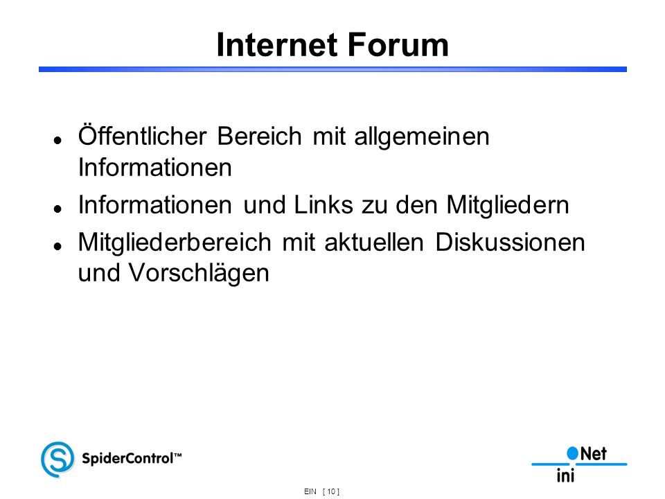 Internet Forum Öffentlicher Bereich mit allgemeinen Informationen