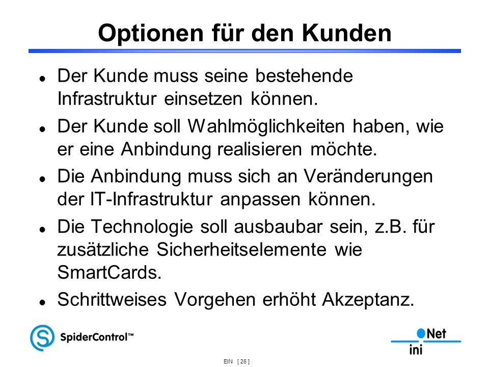 Optionen für den Kunden