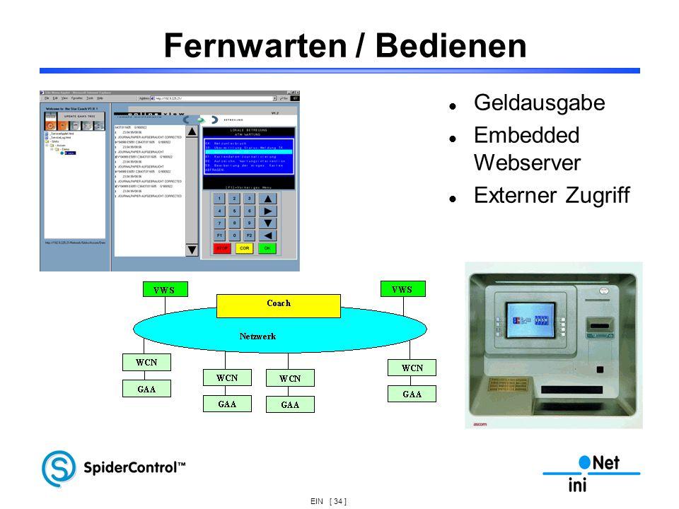 Fernwarten / Bedienen Geldausgabe Embedded Webserver Externer Zugriff