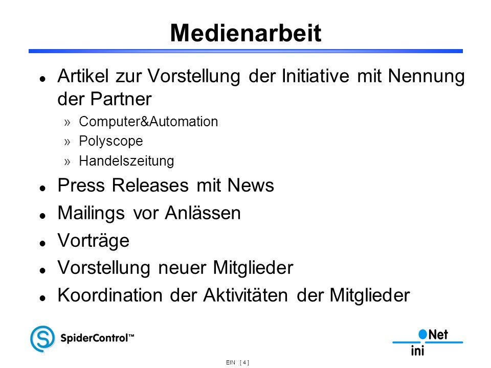 MedienarbeitArtikel zur Vorstellung der Initiative mit Nennung der Partner. Computer&Automation. Polyscope.