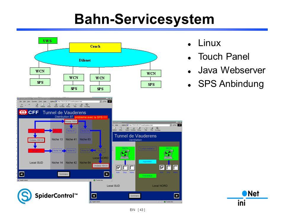 Bahn-Servicesystem Linux Touch Panel Java Webserver SPS Anbindung