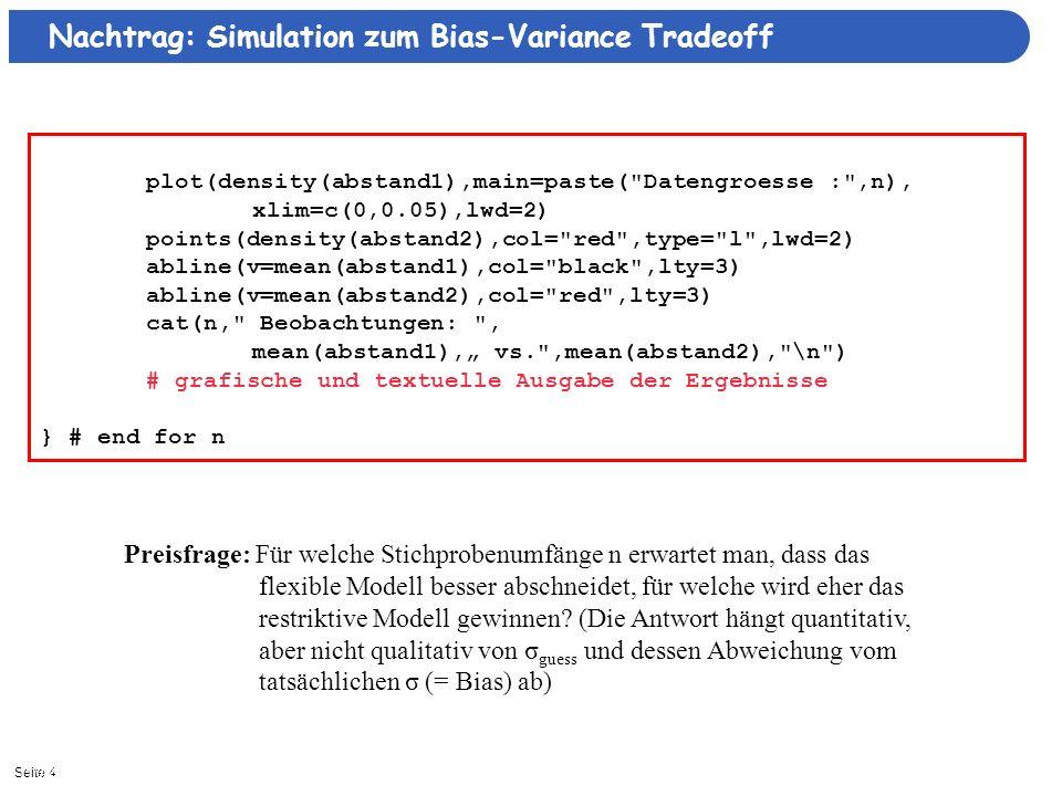 Nachtrag: Simulation zum Bias-Variance Tradeoff