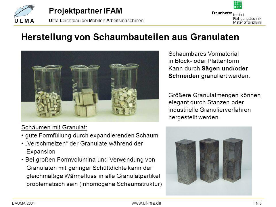 Herstellung von Schaumbauteilen aus Granulaten