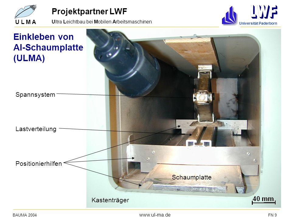 Einkleben von Al-Schaumplatte (ULMA) Projektpartner LWF Spannsystem