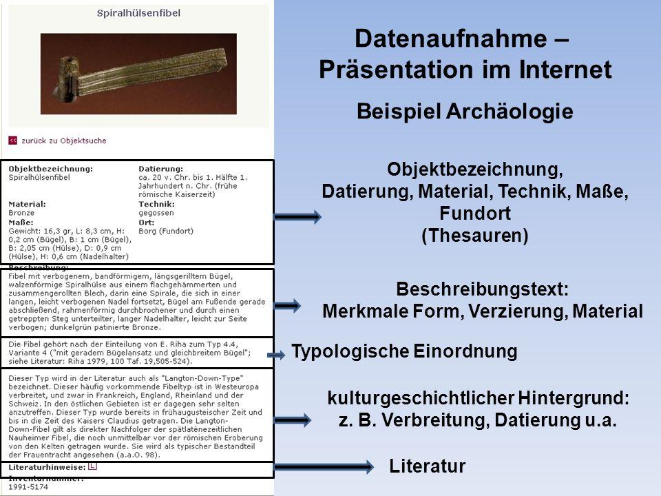 Datenaufnahme – Präsentation im Internet Beispiel Archäologie
