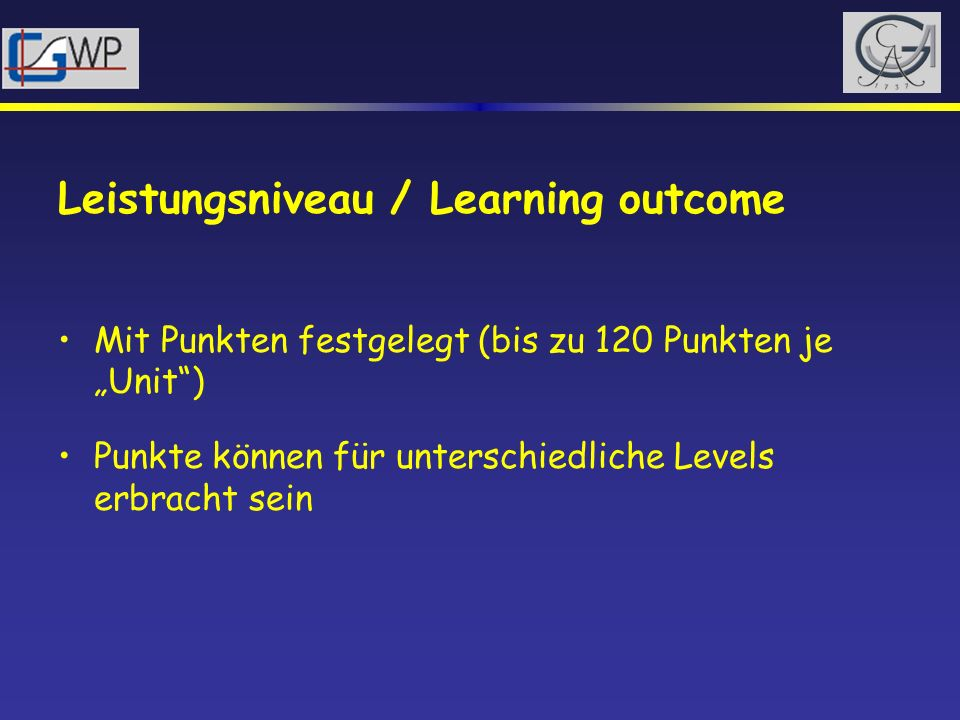 Leistungsniveau / Learning outcome