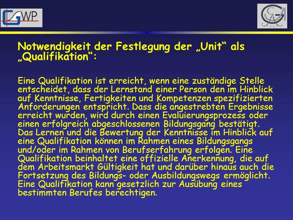 """Notwendigkeit der Festlegung der """"Unit als """"Qualifikation :"""
