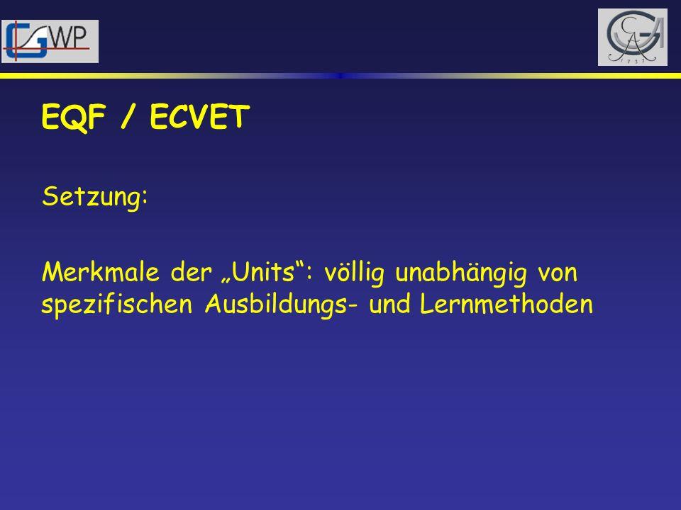 """EQF / ECVETSetzung: Merkmale der """"Units : völlig unabhängig von spezifischen Ausbildungs- und Lernmethoden."""