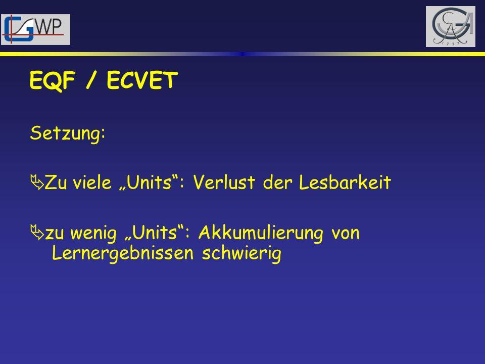 """EQF / ECVET Setzung: Zu viele """"Units : Verlust der Lesbarkeit"""