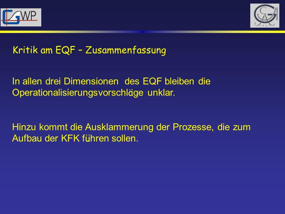 Kritik am EQF – Zusammenfassung