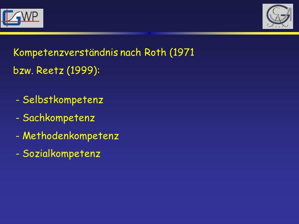 Kompetenzverständnis nach Roth (1971